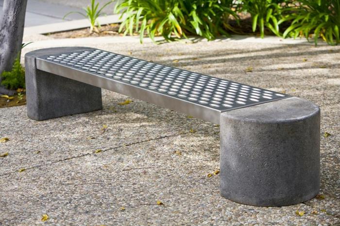gartenbank metall stein modernes design gartenmöbel