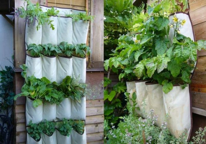 gartengestaltung kräuter gemüse anbauen vertikal stoff
