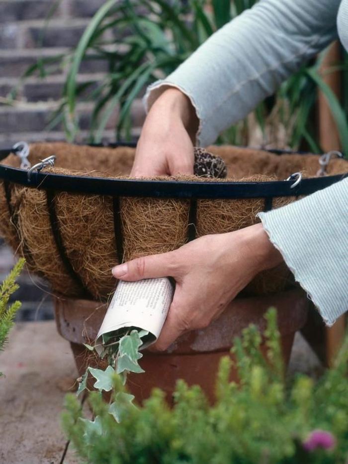 gartengestaltung mit topf pflanzen hängepflanzen winter