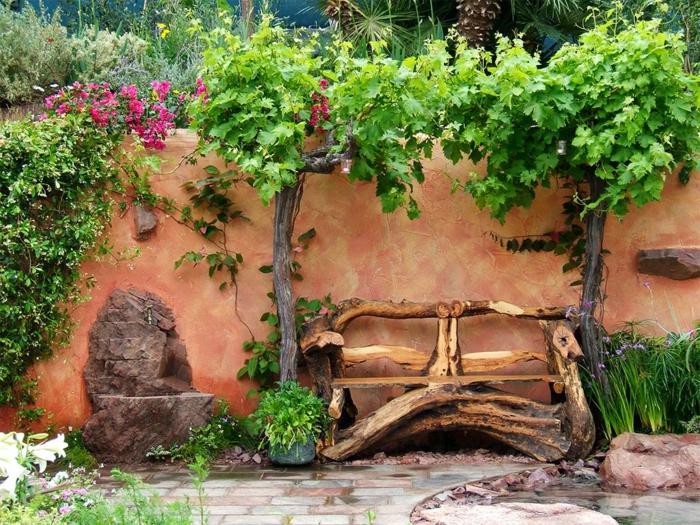 gartenmöbel rustikal coole gartenbank garten pflanzen