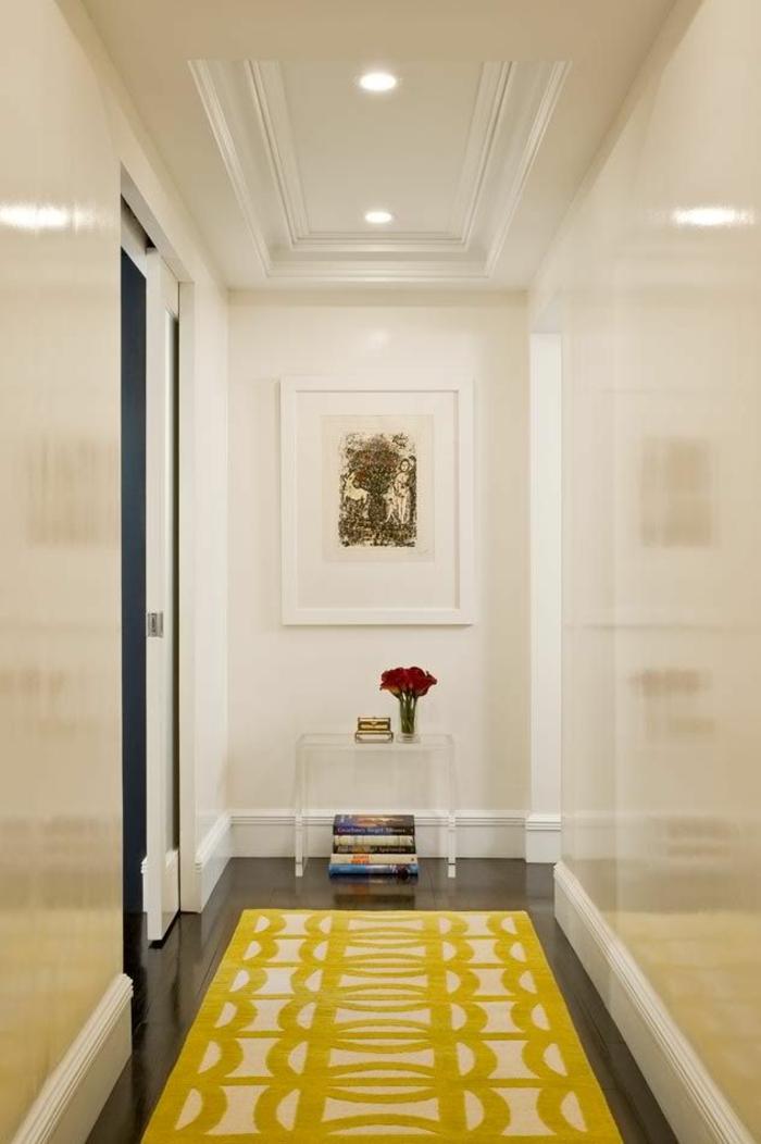 gelber teppich innendesign tipps bodenbelag flur möbel