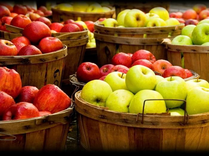 gesundes leben bio produkte äpfel grün rot