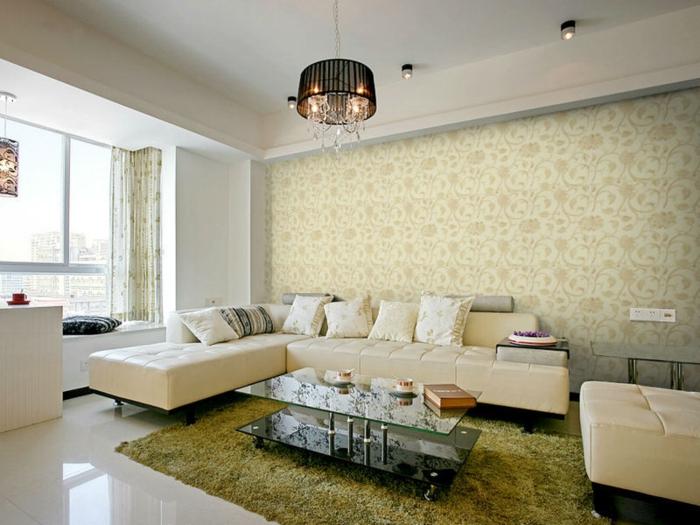 glasfasertapete wohnzimmer wanddekoration muster retro