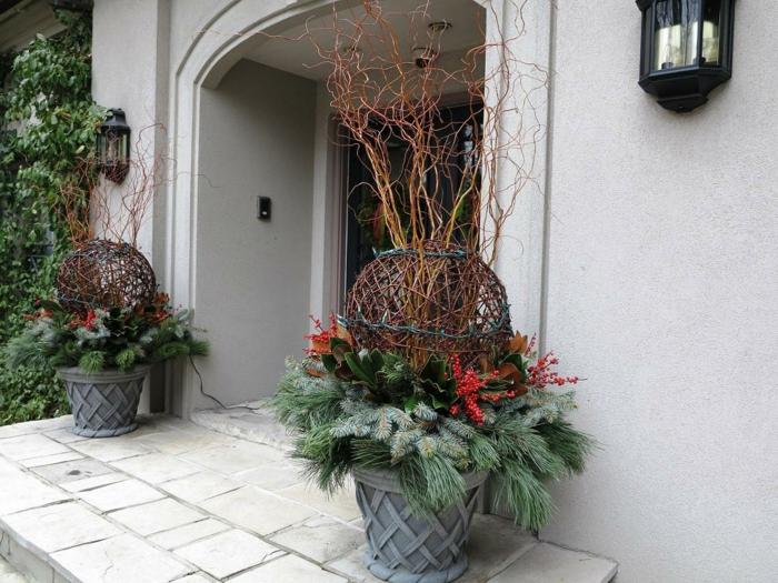 große pflanzkübel eingang dekorieren pflanzen