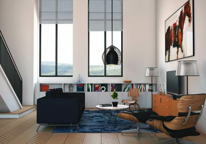 hängeleuchten wohnzimmer blauer teppich holztexturen stehlampen