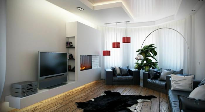 hängeleuchten wohnzimmer kamin fellteppich pflanzen