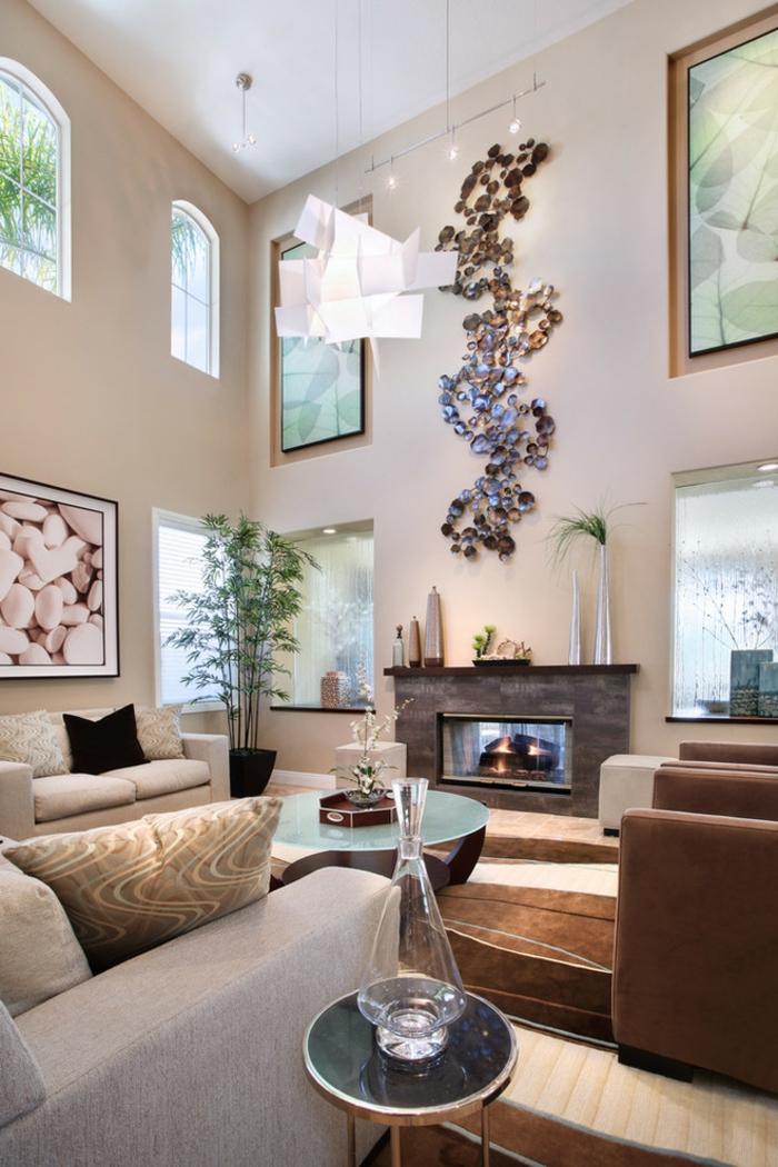 Hängeleuchten Wohnzimmer Pflanzen Beistelltisch