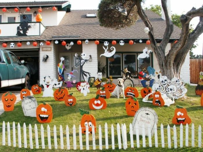 halloween deko diy grabsteine lustige papierkürbisse