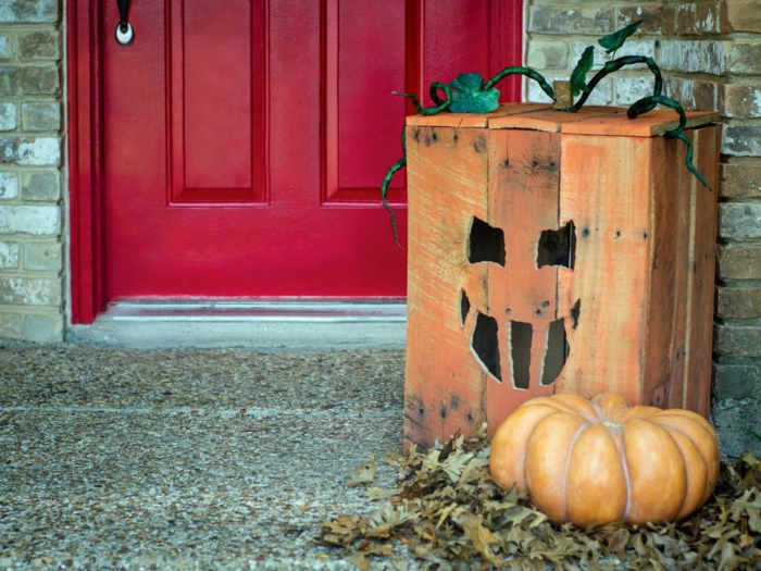halloween deko diy holzkiste gesicht