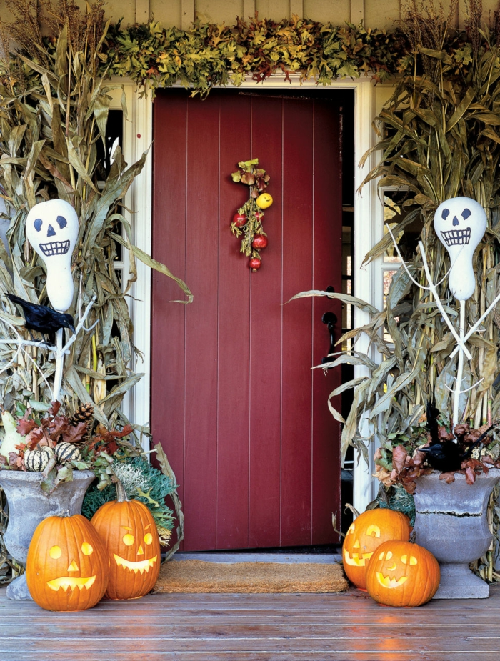 halloween deko eingang dekorieren schöne ideen
