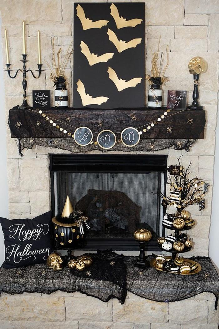 halloween deko für innen den kaminsims dekorieren
