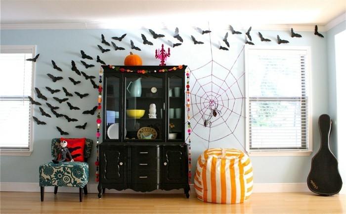 halloween ideen dekoideen für innen fledermäuse als wanddeko