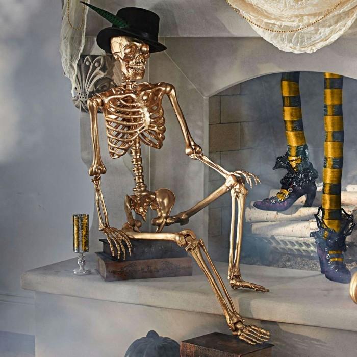 halloween ideen mit skeletten gruselige stimmung schaffen