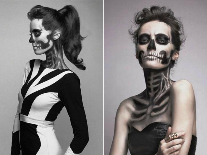 halloween kostüm gerippe make up ideen