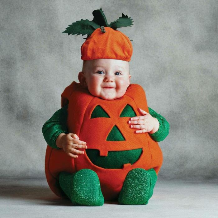 halloween kostüme babys kürbis kostüm