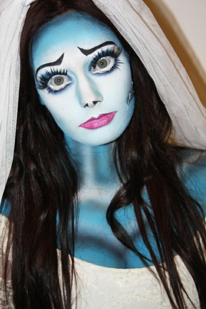 halloween schminkideen für frauen braut leiche hautfarbe blau