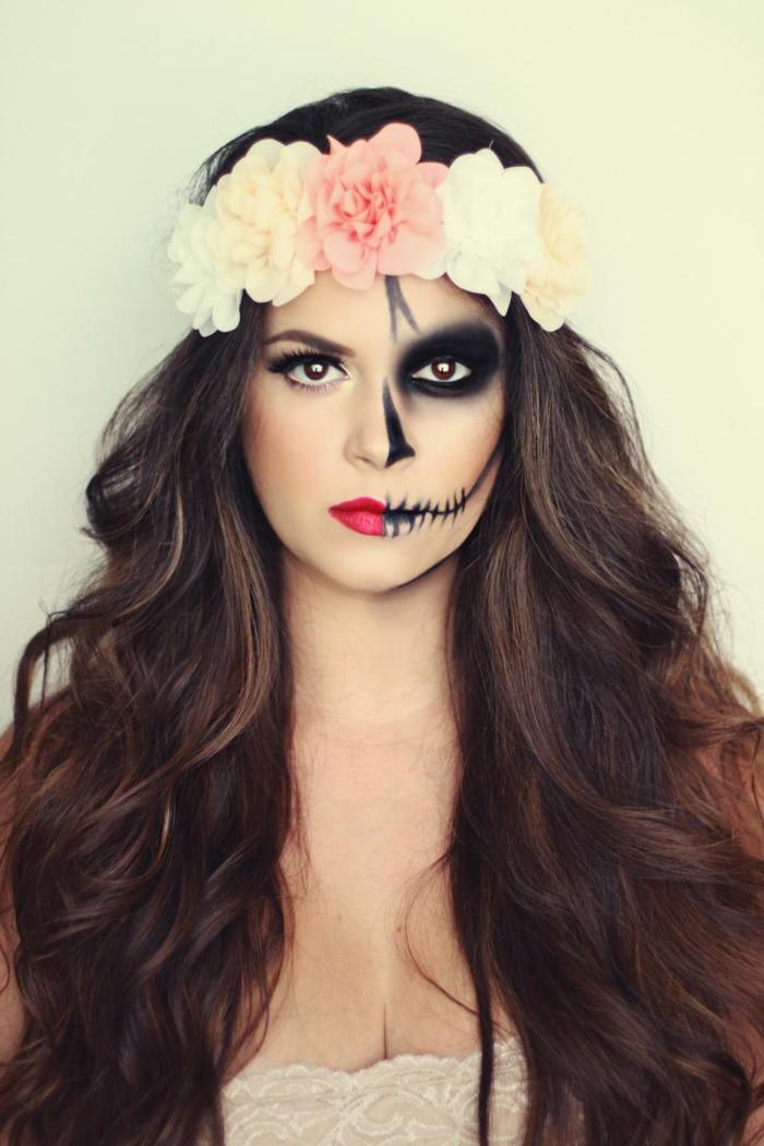 halloween schminkideen für frauen schminkfarben halbes gesicht