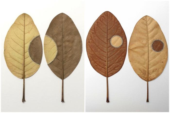 herbstdeko basteln blätter kunstwerke susanne bauer