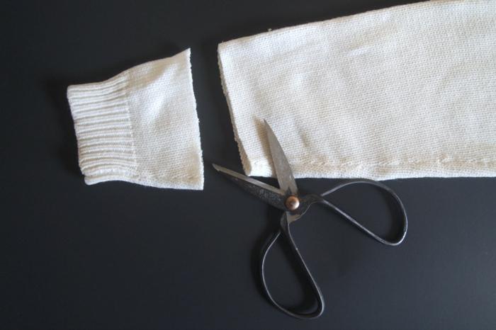 herbstdeko selber machen weißer pullover abschneiden