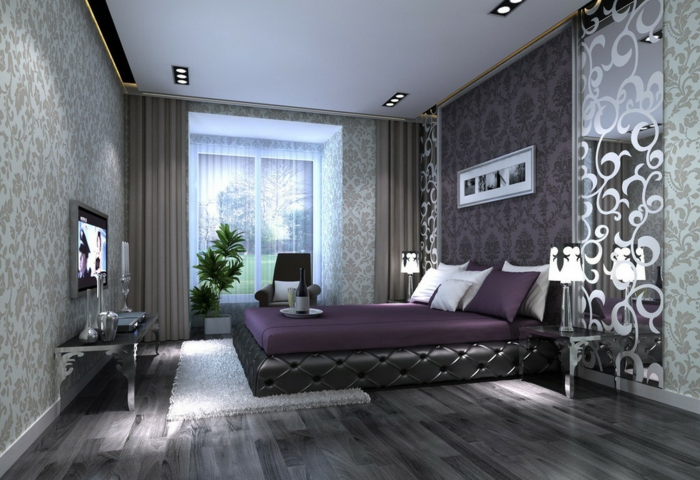 tapete grau schlafzimmer. Black Bedroom Furniture Sets. Home Design Ideas