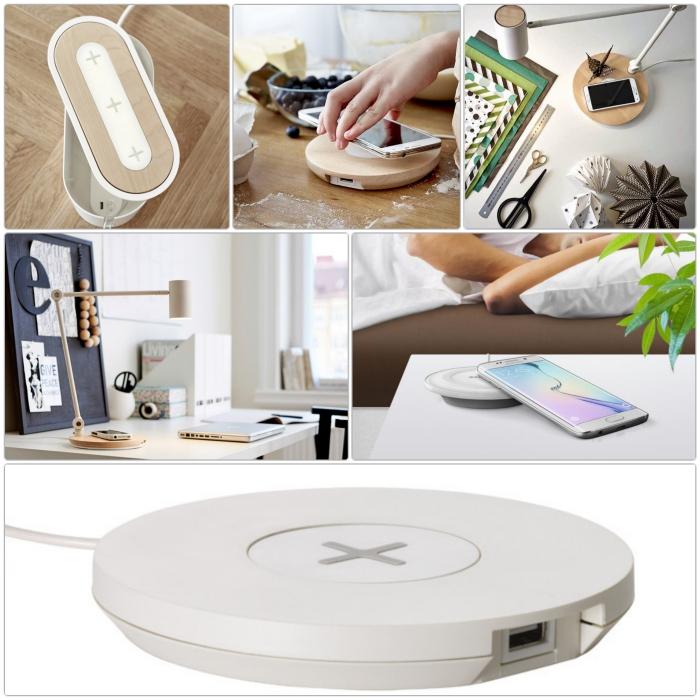 ikea wohnzimmermöbel drahtloses aufladen tischlampe gadgets geräte