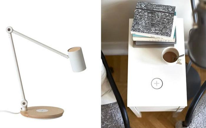 ikea wohnzimmermöbel drahtloses aufladen tischlampe