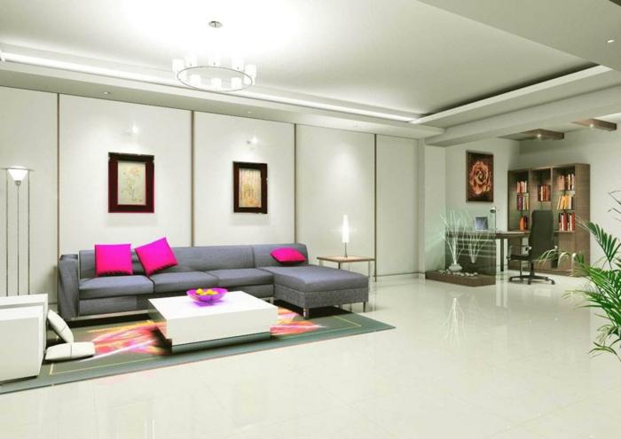 Indirekte Beleuchtung Wohnzimmer Deckenbeleuchtung Graues Ecksofa