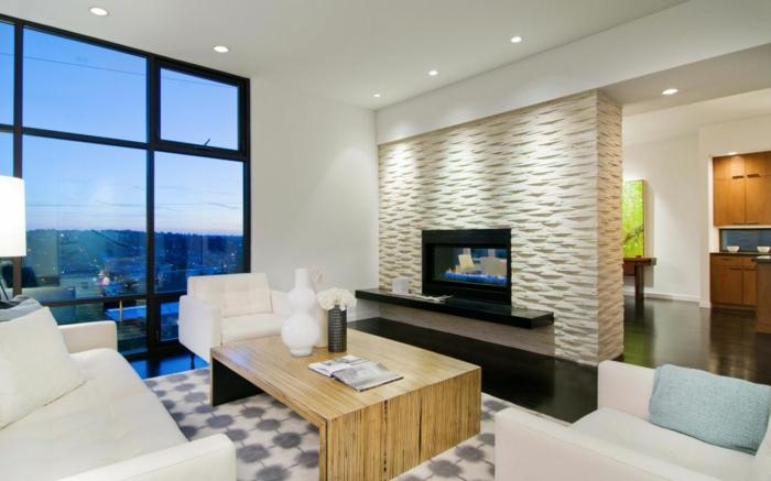 innendesign beleuchtung wohnzimmer steinwand weiße wohnzimmermöbel