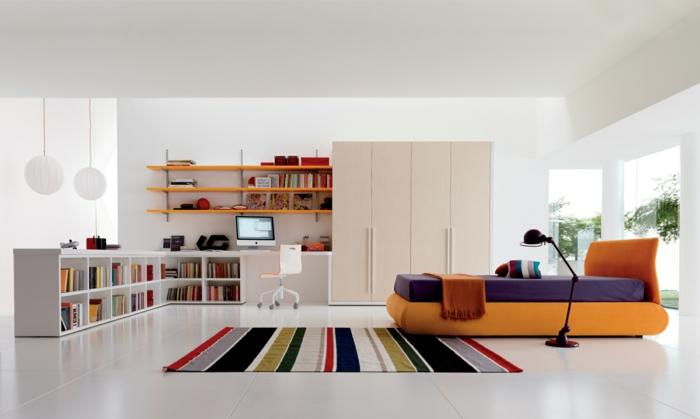 innendesign farbiger teppich streifen weiße wandfarbe kinderzimmer