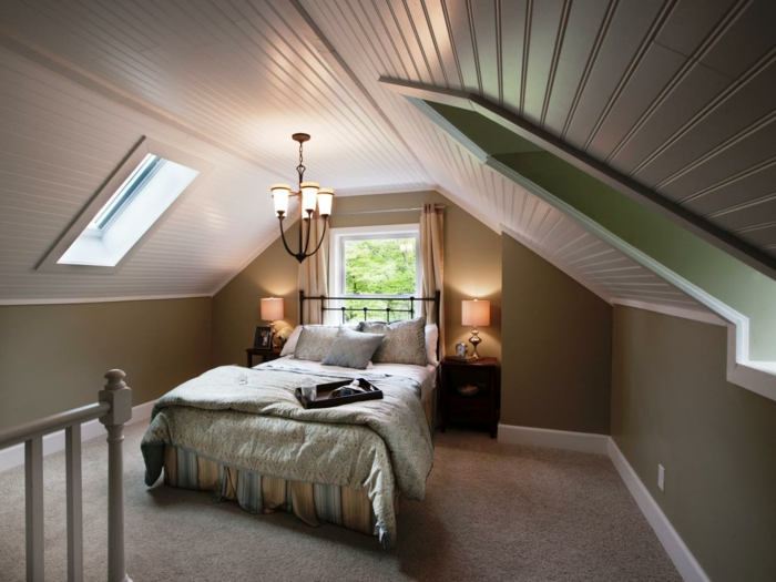innendesign ideen dachgeschoss einrichten kleines geräumiges schlafzimmer