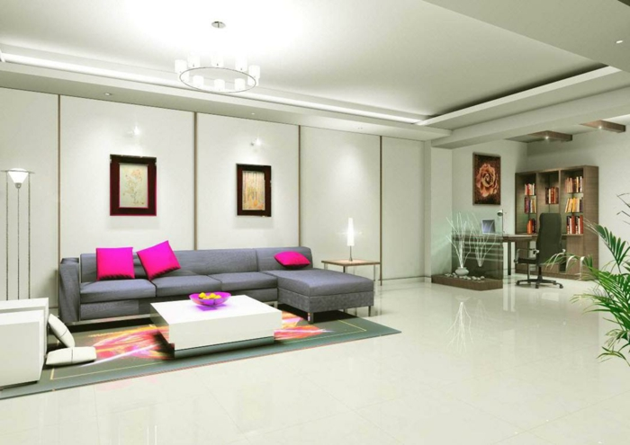 Innendesign Ideen Wohnzimmer Abgehängte Decke Deckenbeleuchtung Krasse  Akzente