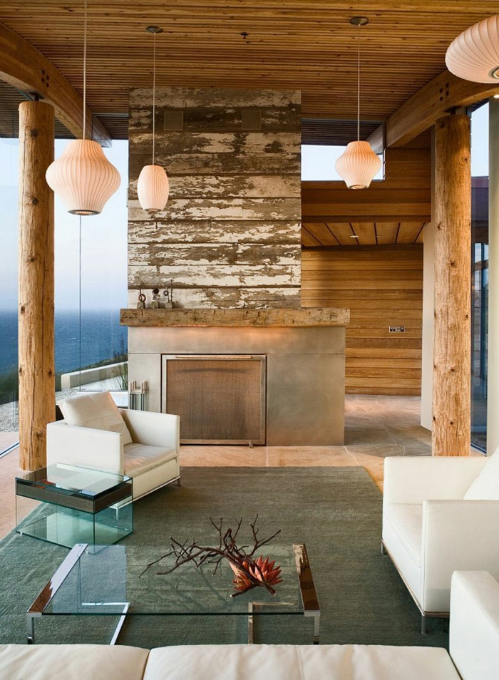 innendesign ideen wohnzimmer decke pendelleuchten weiße sofas