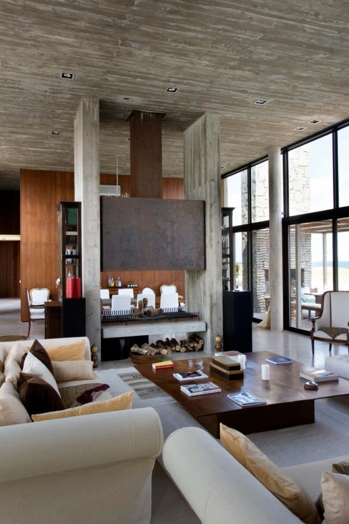 Innendesign Ideen Wohnzimmer Hlzerne Decke Kamin