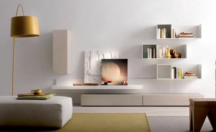 innendesign modernes wohnzimmer weiß wohnwand farbiger teppich
