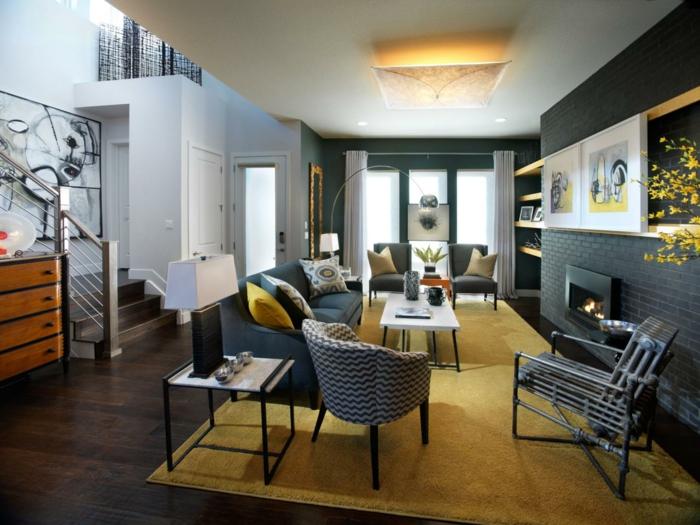 innendesign wohnbereich gestalten gelber teppich kamin