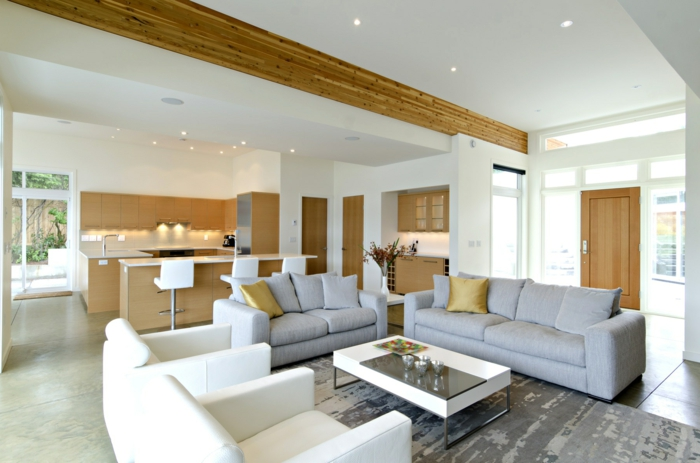 innendesign wohnzimmer einrichten cooler teppich eingebaute leuchten