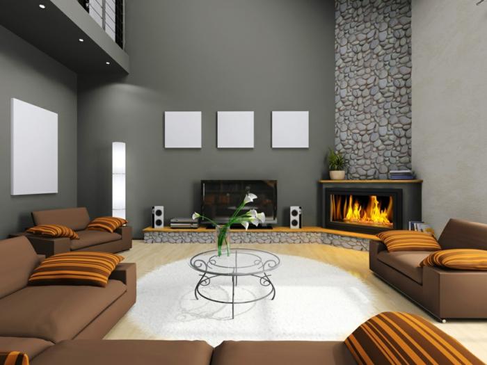 innendesign wohnzimmer kamin graue wände weißer teppich