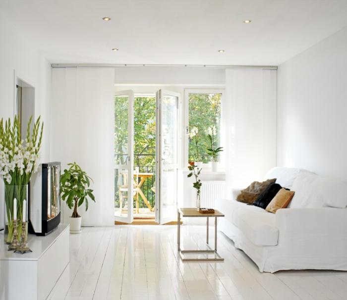 innnedesign wohnzimmer einrichten weiße wandfarbe pflanzen