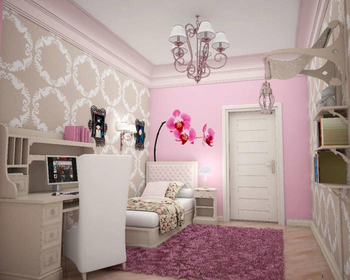 jugendzimmer einrichten mädchen rosa teppich rosa akzentwand