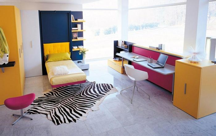 jugendzimmer einrichtung cooler fellteppich gelbe möbel