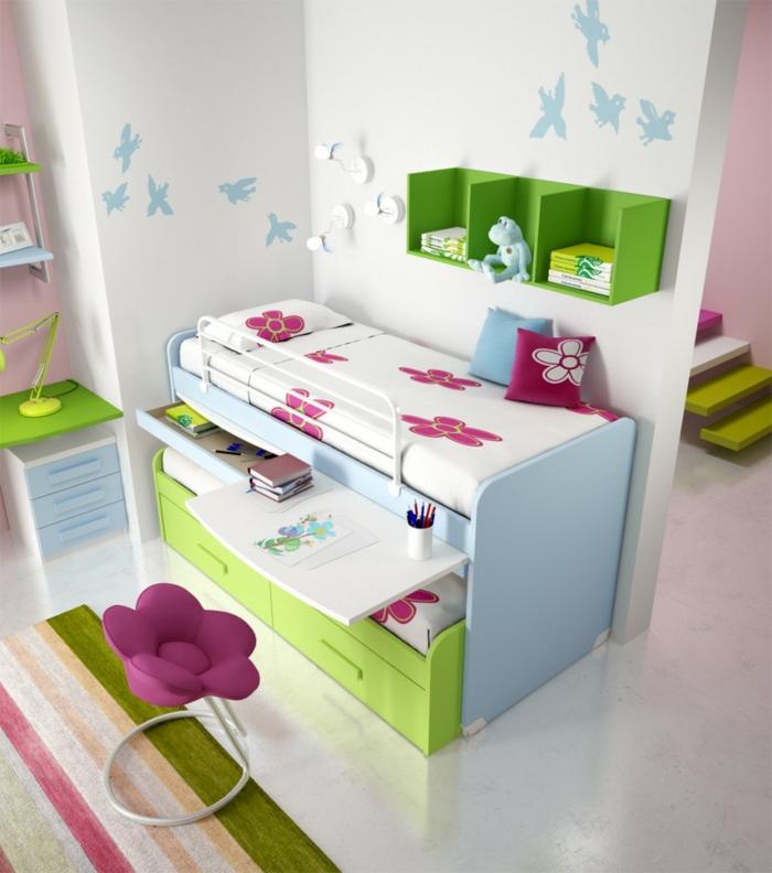 jugendzimmer einrichtung funktionale möbel streifenteppich