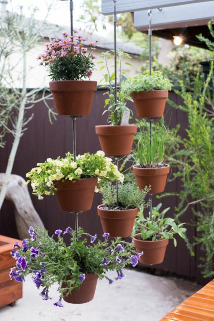 kübelpflanzen im garten hängende topfpflanzen