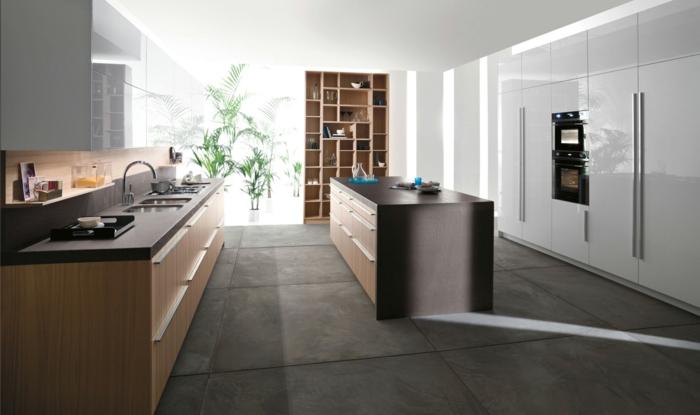 küchendesign moderne küche große bodenfliesen freistehnde kücheninsel
