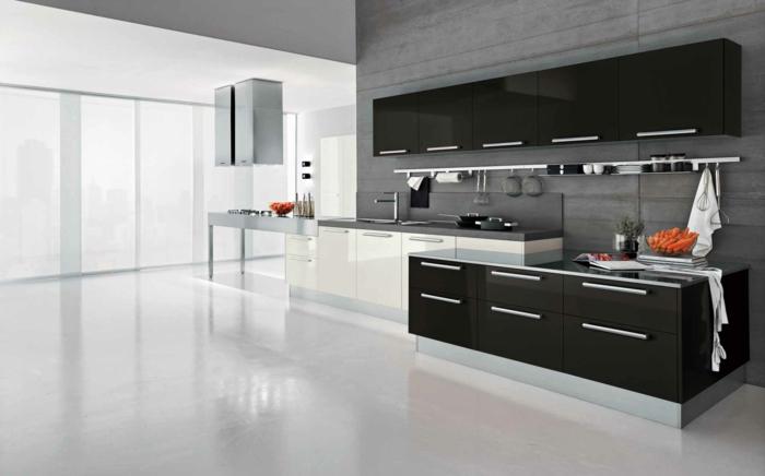 küchendesign weiß schwarz supermodern schöne wohnideen