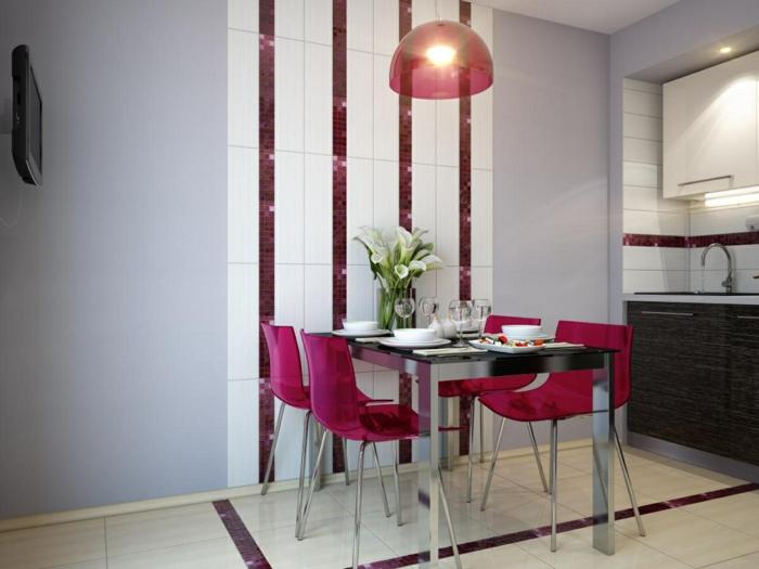 küchenstühle design rosa transparent blumendeko küche