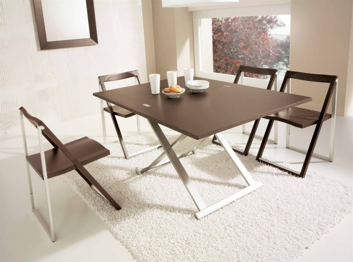 küchenstühle design zusammenklappbar braun weiß