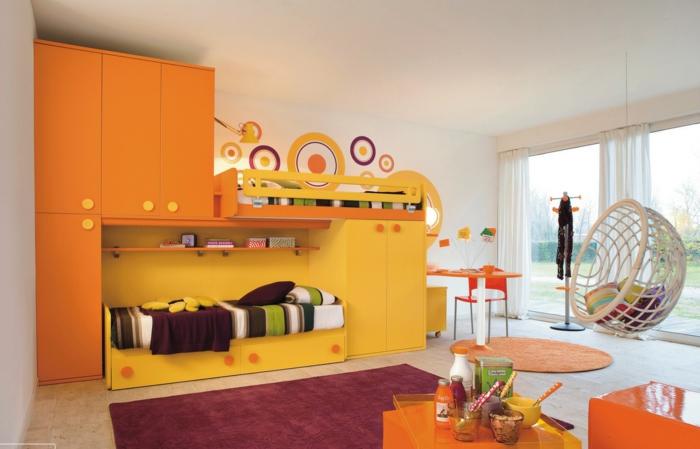 kinderzimmer ideen schöner teppich krasse farben cooler sessel