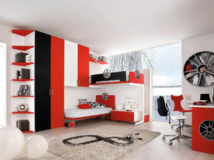kinderzimmer ideen weiß rot ausgefallenes wandregal panoramafenster