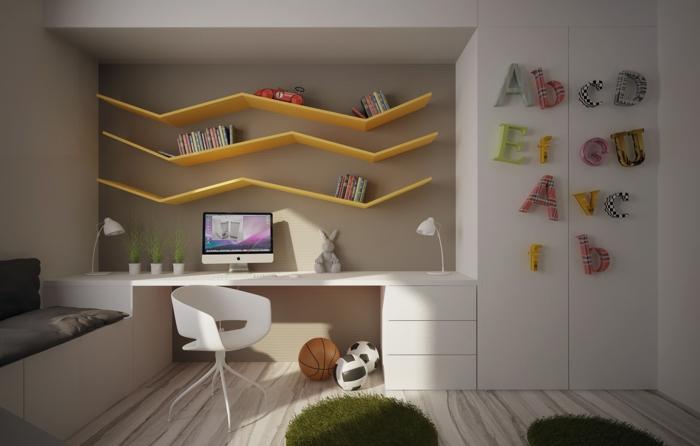 kinderzimmer ideen weiße kindermöbel coole wandregale wellig deko
