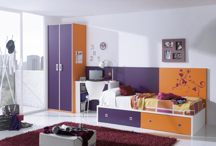 zimmergestaltung kinderzimmermöbel kinderbett teppich farbiges interieur